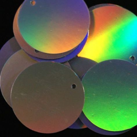 Bulk Bag 25mm 'Smooth' Hologram Silver Penny Sequins x 1000.